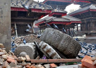 Kathmandu, macerie sulla Hanuman Dhoka