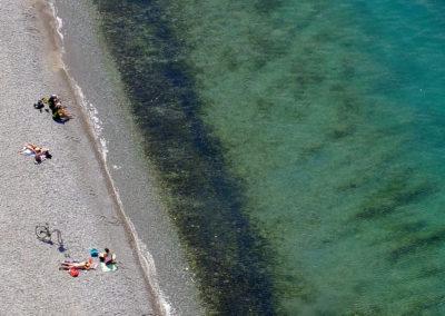 Lago di Garda, la spiaggia di Torbole dal sentiero dei forti