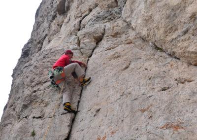Piccole Dolomiti, Gianni Bisson in arrampicata sulla Sisilla